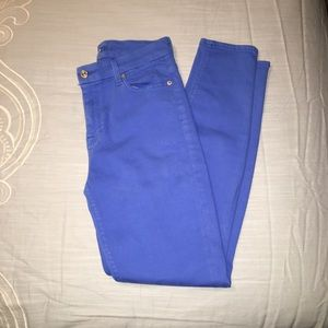 7 for all mankind royal blue skinny jeans